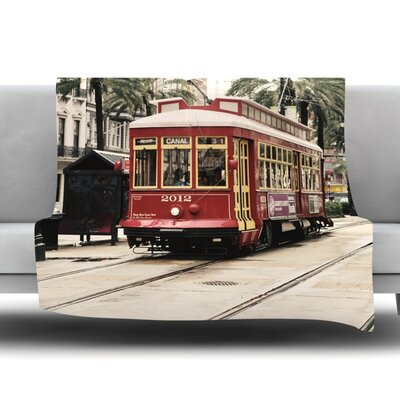 Canal Street Car by Sylvia Cook Fleece Blanket Size: 80 L x 60 W