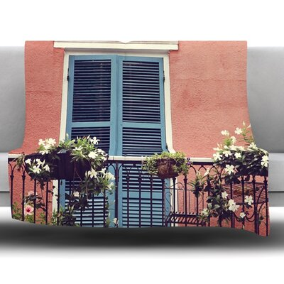 New Orleans Balcony by Sylvia Cook Fleece Blanket Size: 40 L x 30 W