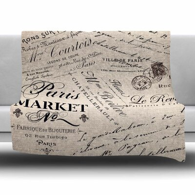 French Script by Sylvia Cook Fleece Blanket Size: 80 L x 60 W