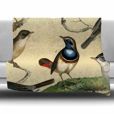 Vintage Birds by Suzanne Carter Fleece Blanket Size: 80 L x 60 W