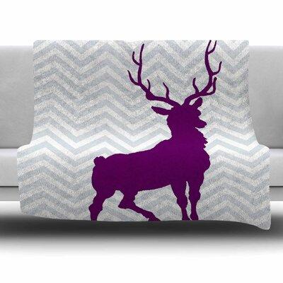 Chevron Deer by Suzanne Carter Fleece Blanket Size: 80 L x 60 W