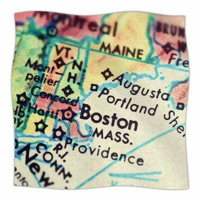 Boston On The Time by Debbra Obertanec Fleece Blanket Size: 80 L x 60 W