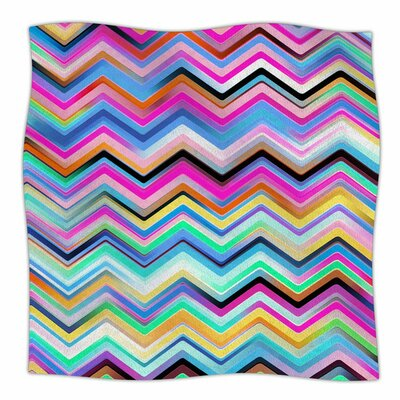 Colorful Rainbow Chevron by Dawid Roc Fleece Blanket Size: 80 L x 60 W