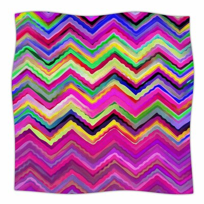 Colorful Chevron by Dawid Roc Fleece Blanket Size: 80 L x 60 W