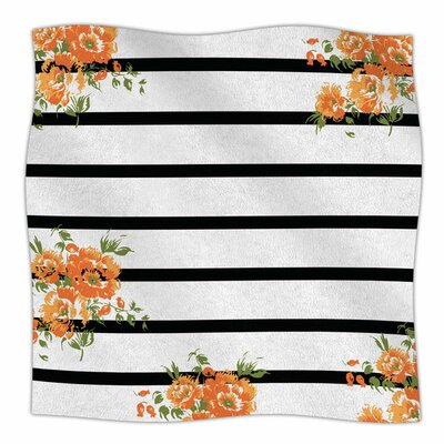Orange Floral Stripes by NL Designs Fleece Blanket Size: 80 L x 60 W