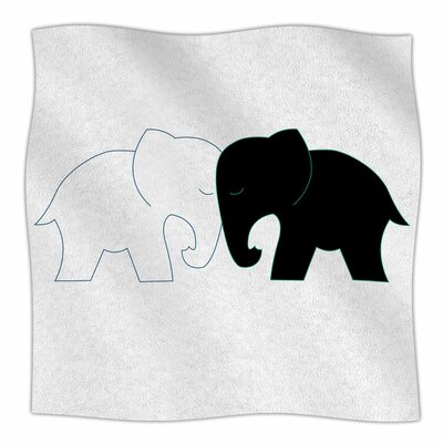 Elephant Love by NL Designs Fleece Blanket Size: 80 L x 60 W