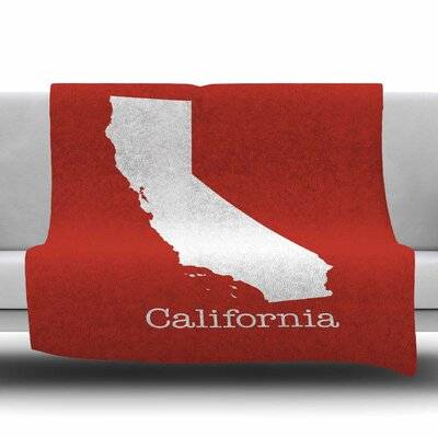California State On Golden Red by Bruce Stanfield Fleece Blanket Size: 80 L x 60 W
