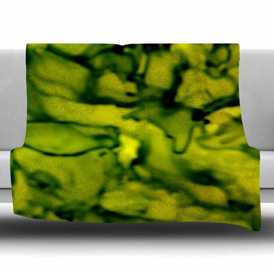 Green by Claire Day Fleece Blanket Size: 80 L x 60 W