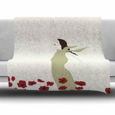Poppy Field by Mayacoa Studio Fleece Blanket Size: 80 L x 60 W