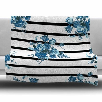 Floral Strips by NL Designs Fleece Blanket Size: 80 L x 60 W