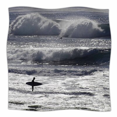 Lone Surfer by Nick Nareshni Fleece Blanket Size: 80 L x 60 W