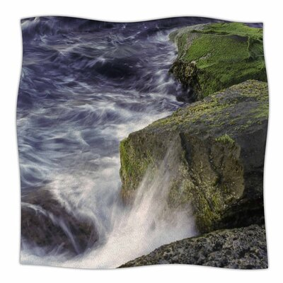 Wave Against La Jolla Rocks by Nick Nareshni Fleece Blanket Size: 80 L x 60 W