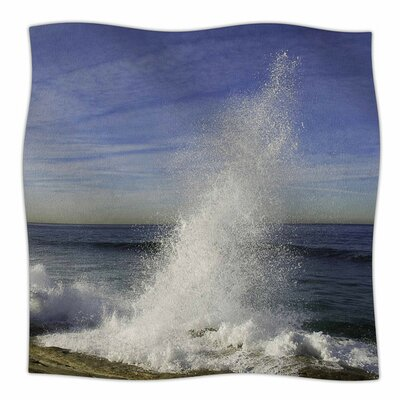 Hut With Crashing Waves by Nick Nareshni Fleece Blanket Size: 80 L x 60 W