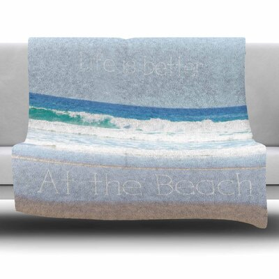 Life Is Better At The Beach by Sylvia Coomes Fleece Blanket Size: 80 L x 60 W