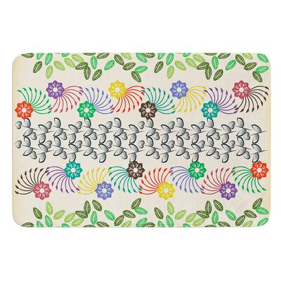 Flowers and Leaves Pattern by Famenxt Bath Mat Size: 24 W x 36 L