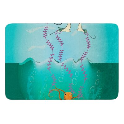 Octopus Flying Manta Rays by Famenxt Bath Mat Size: 24 W x 36 L