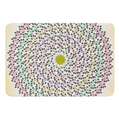 Leafy Watercolor Mandala by Famenxt Bath Mat Size: 17W x 24L