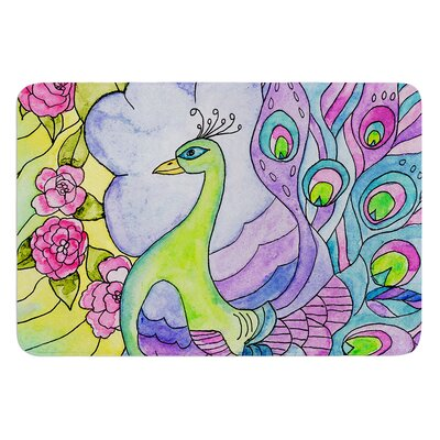 Stained Glass Watercolor Peacock by Catherine Holcombe Bath Mat Size: 17W x 24 L