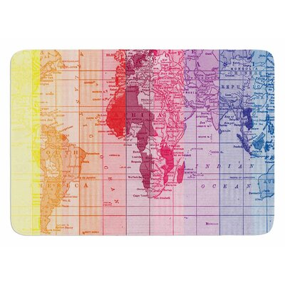 Rainbow World Map by Catherine Holcombe Bath Mat