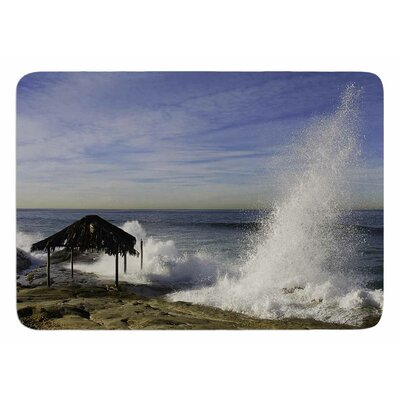 Hut With Crashing Waves by Nick Nareshni Bath Mat