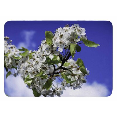 Cherry Blossoms And Blue Sky by Nick Nareshni Bath Mat
