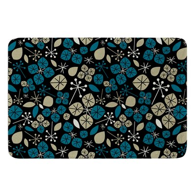 Leaf Scatters Midnight by Allison Beilke Bath Mat Size: 17W x 24L