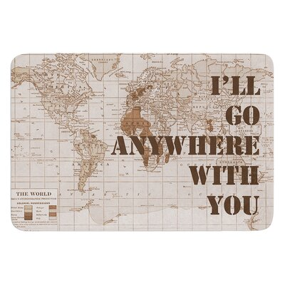Ill Go Anywhere With You by Catherine Holcombe Bath Mat Size: 24 W x 36 L