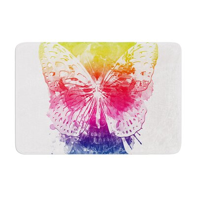 Butterfly Skull by Frederic Levy-Hadida Bath Mat Size: 24 W x 36 L