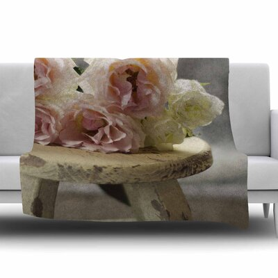 Roses on Stool by Cristina Mitchell Fleece Throw Blanket Size: 80 L x 60 W