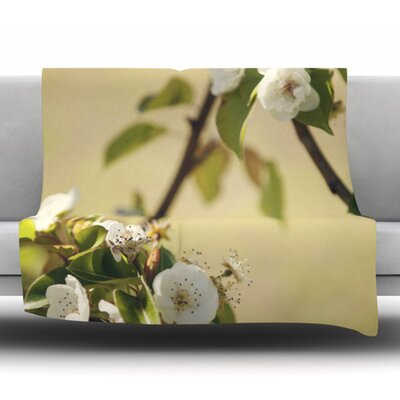 Pear Blossom by Catherine McDonald Fleece Throw Blanket Size: 80 H x 60 W