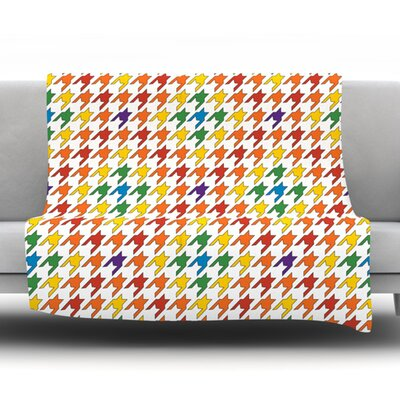 Rainbow Houndstooth by Empire Ruhl Fleece Throw Blanket Size: 60 H x 50 W