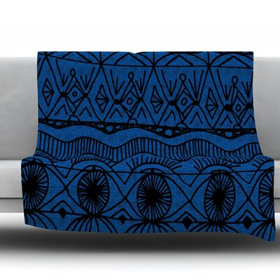Black and Blue by Catherine Holcombe Fleece Throw Blanket Size: 60 H x 50 W