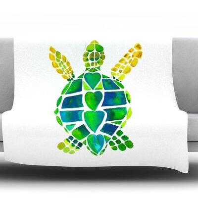 Turtle Love by Catherine Holcombe Fleece Throw Blanket Size: 60 L x 50 W