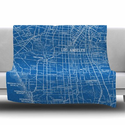 Los Angeles Streets by Catherine Holcombe Fleece Throw Blanket Size: 40 L x 30 W