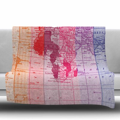 Rainbow World Map by Catherine Holcombe Fleece Throw Blanket Size: 80 L x 60 W