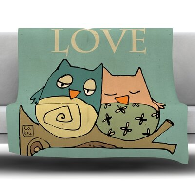 Lechuzas Love by Carina Povarchik Fleece Throw Blanket Size: 40 L x 30 W