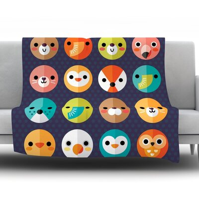 Smiley Faces by Daisy Beatrice Fleece Throw Blanket Size: 60 L x 50 W