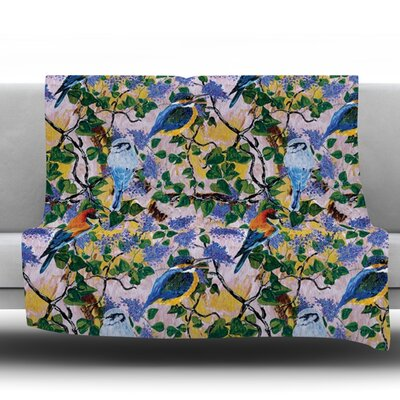 Birds by DLKG Design Fleece Throw Blanket Size: 60 L x 50 W