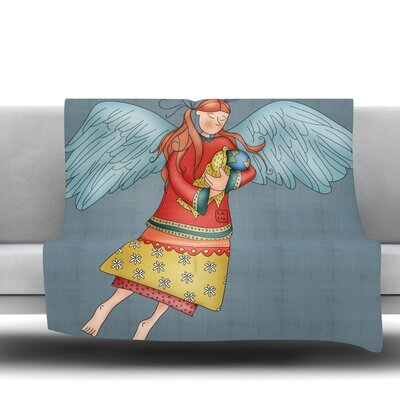 Guardian Angel by Carina Povarchik Fleece Throw Blanket Size: 40 L x 30 W