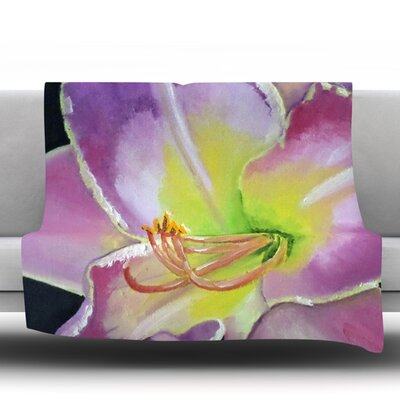 Violet and Lemon by Cathy Rodgers Fleece Throw Blanket Size: 80 H x 60 W