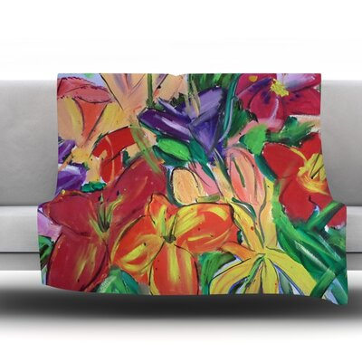 Matisse Styled Lillies by Cathy Rodgers 40 Fleece Throw Blanket Size: 80 L x 60 W