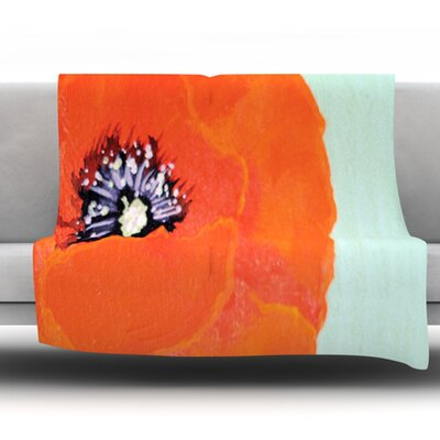 Vintage Poppy by Christen Treat Fleece Throw Blanket Size: 80 L x 60 W