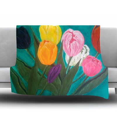 Tulips by Christen Treat Fleece Throw Blanket Size: 80 L x 60 W