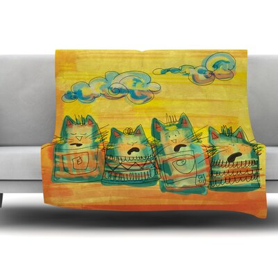 Singing Cats by Carina Povarchik Fleece Throw Blanket Size: 60 L x 50 W