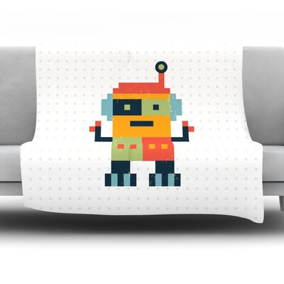 Happy Robot by Daisy Beatrice Fleece Throw Blanket Size: 40 L x 30 W