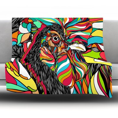 Tropical Rooster by Danny Ivan Fleece Throw Blanket Size: 60 H x 50 W