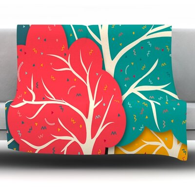 Happy Forest by Danny Ivan Fleece Throw Blanket Size: 80 L x 60 W