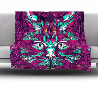 Space Cat by Danny Ivan Fleece Throw Blanket Size: 80 H x 60 W