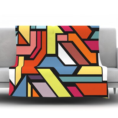 Abstract Shapes by Danny Ivan Fleece Throw Blanket Size: 80 H x 60 W