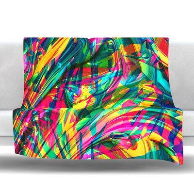 Wild Abstract by Danny Ivan Fleece Throw Blanket Size: 80 L x 60 W